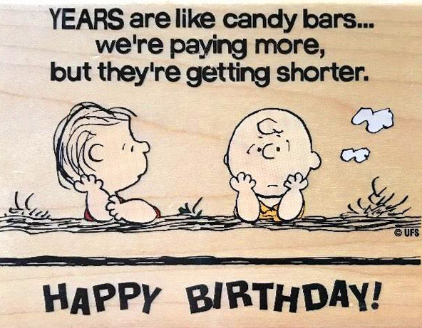 Linus/Charlie Brown Happy Birthday LARGE RUBBER STAMP
