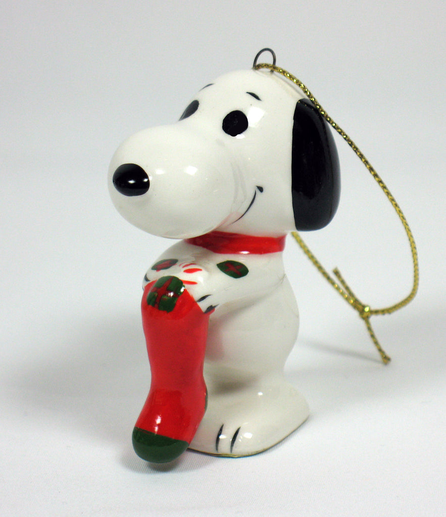 1974 Snoopy Holding Stocking Christmas Ornament