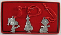 PEANUTS 3-PIECE PEWTER ORNAMENT SET