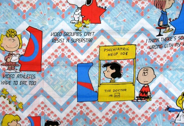 Vintage Peanuts Gang Pillow Case - Video Games