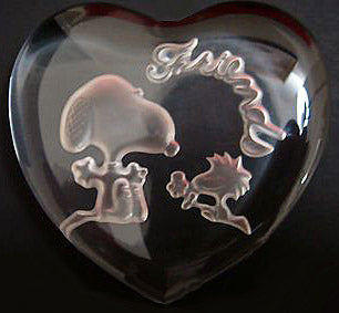 Snoopy Glass Heart-Shaped Paperweight  - Friends