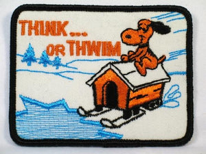 """THINK OR THWIM"" SNOOPY ""HOUSE SLEDDING"" PATCH"