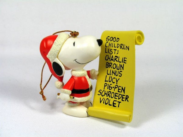 ADLER SNOOPY WITH LIST ORNAMENT