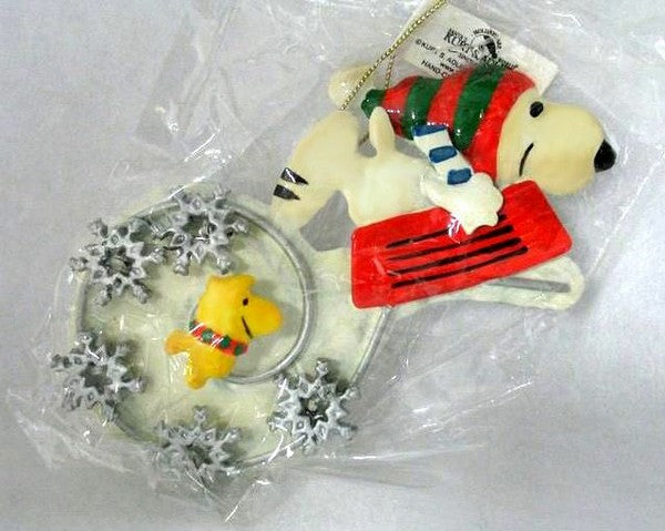 ADLER TIN SNOOPY AND WOODSTOCK ORNAMENT