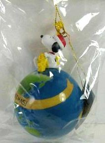 ADLER SNOOPY AND WOODSTOCK ON EARTH ORNAMENT