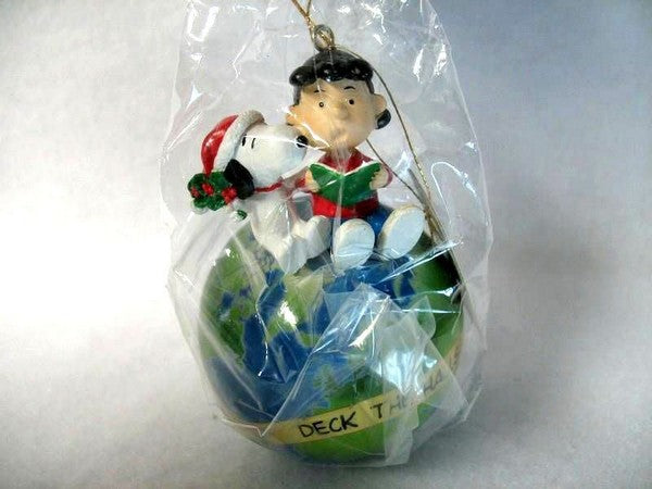 ADLER LUCY AND SNOOPY ON EARTH ORNAMENT