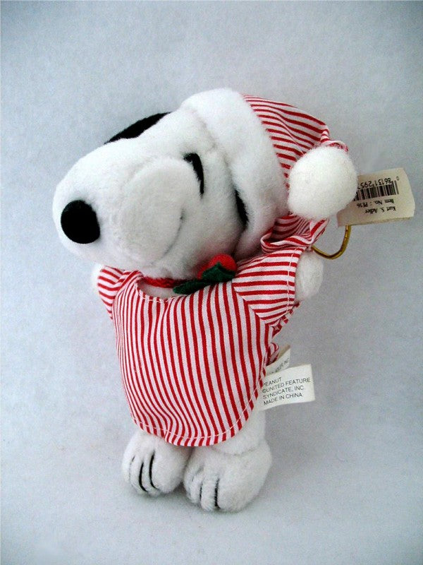 ADLER PLUSH SNOOPY WEARING NIGHTCAP CHRISTMAS ORNAMENT