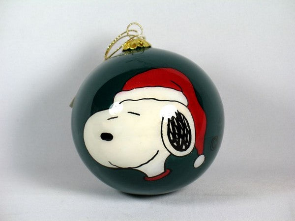 ADLER SNOOPY GLASS BALL CHRISTMAS ORNAMENT - GREEN