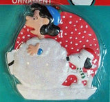 ADLER SNOOPY AND LUCY SNOWBALL DISC ORNAMENT