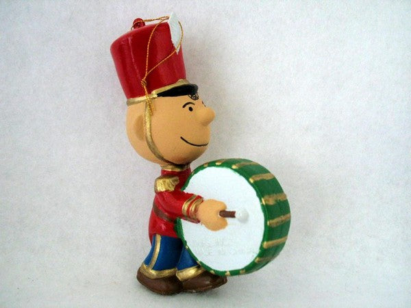 ADLER CHARLIE BROWN PLAYING DRUM ORNAMENT