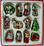 ADLER PEANUTS GANG 12-PIECE MINI GLASS CHRISTMAS ORNAMENT SET