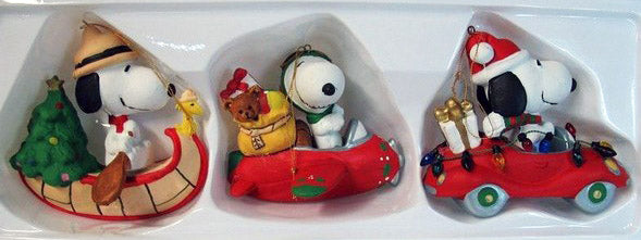 ADLER SNOOPY TRANSPORTATION ORNAMENTS BOXED SET