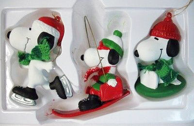 ADLER SNOOPY SNOW SPORTS BOXED ORNAMENT SET
