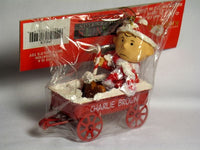 ADLER CHARLIE BROWN IN METAL WAGON ORNAMENT