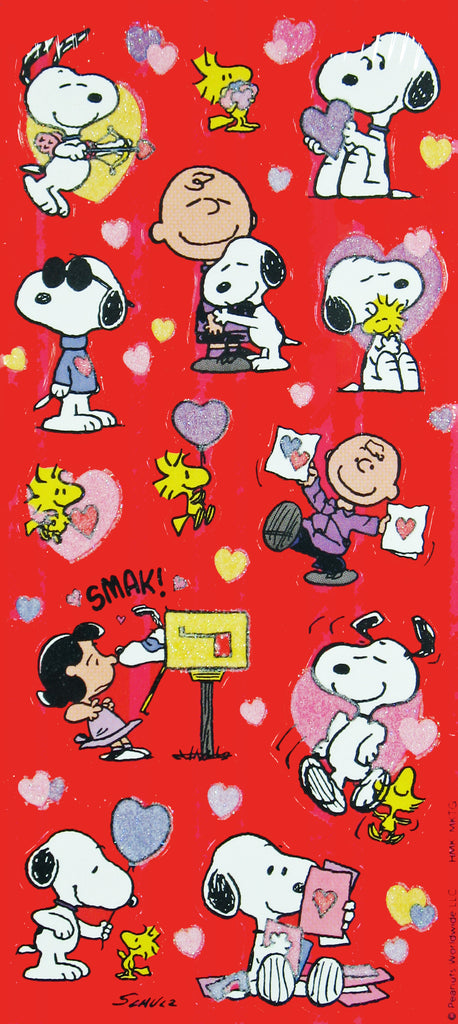 Peanuts Valentine's Day Stickers With Glitter Accents