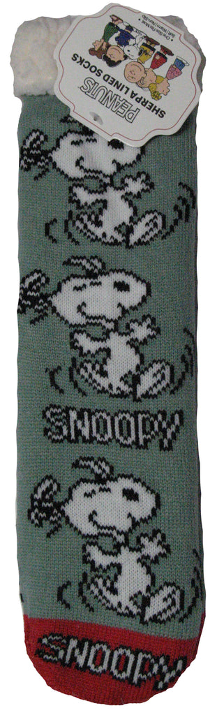 Peanuts Sherpa Crew-Length Socks - Happy Snoopy