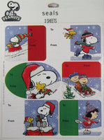 Peanuts Gang Christmas Gift Seals/Tags With Glitter Accents