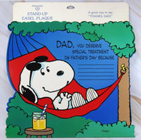 Snoopy Stand-Up Easel Plaque Die-Cut Card - Father's Day