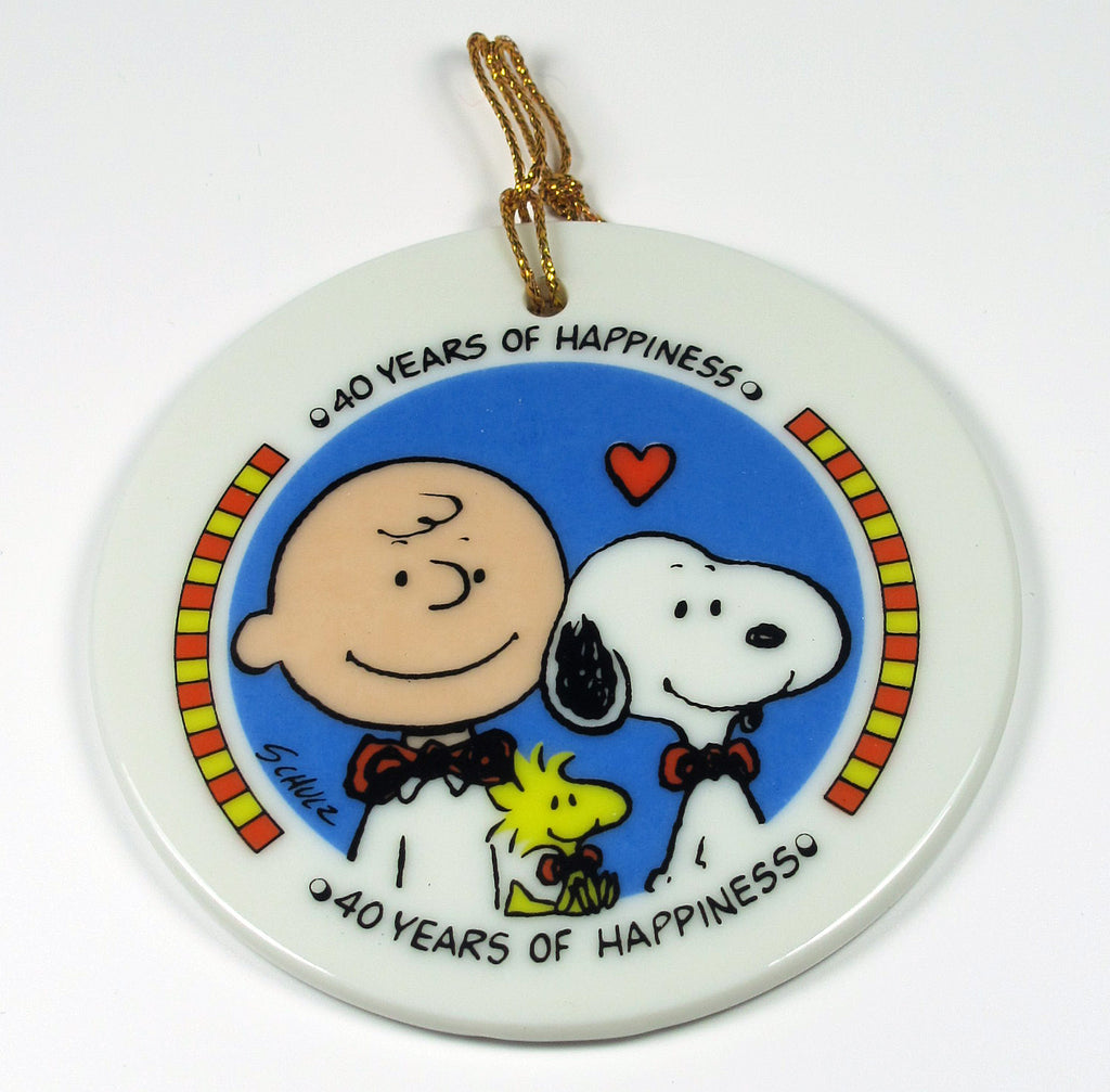 1990 Peanuts 40th Anniversary Porcelain Disk Ornament - 40 Years Of Happiness
