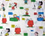 Vintage Peanuts Gang Fitted Sheet - Multi-Colored Phrases