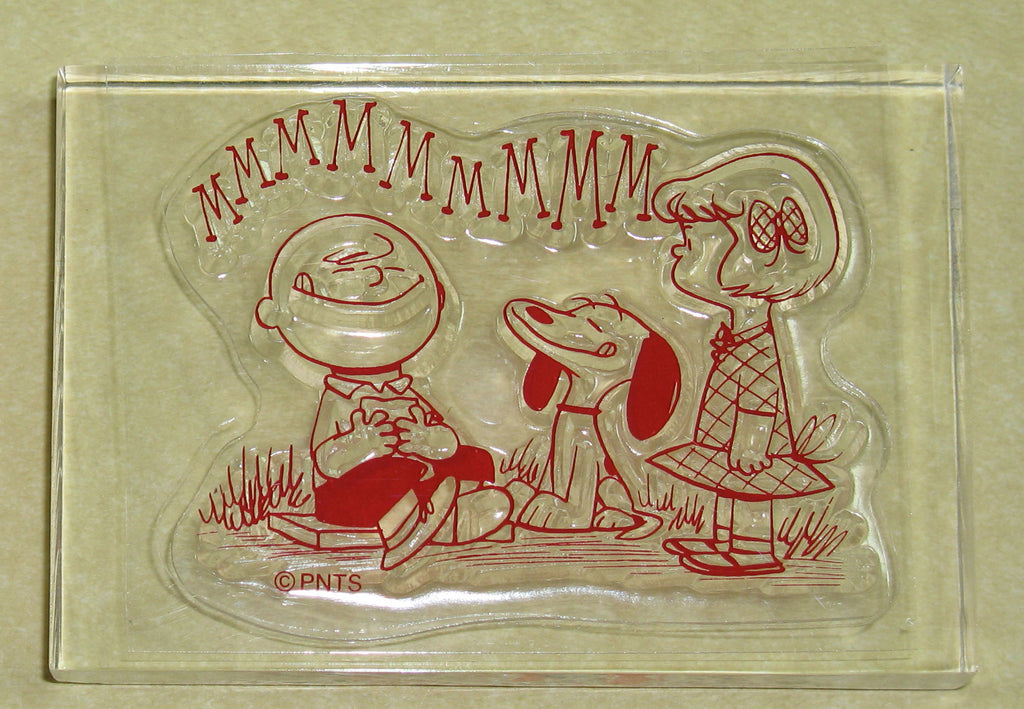 Peanuts Clear Vinyl Stamp On Thick Acrylic Block - Charlie Brown and Friends