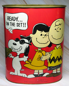 Peanuts Vintage Tin Trash Can - Filming A Movie/Charlie Brown Star