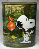 Peanuts Vintage Tin Trash Can - Charlie Brown Bird Watcher / Snoopy Hobo