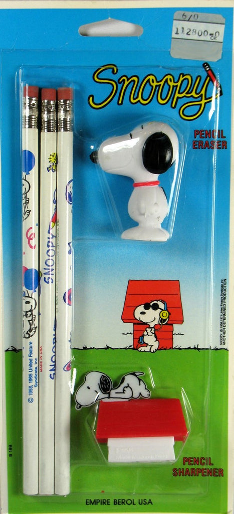 Snoopy Pencil Set With Snoopy Eraser & Doghouse