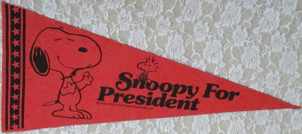 "SNOOPY Pennant - ""Snoopy For President"""