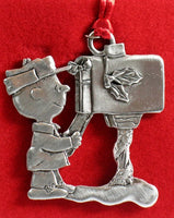 CHARLIE BROWN AT MAILBOX PEWTER ORNAMENT