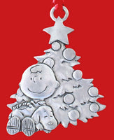 CHARLIE BROWN AND SNOOPY BY TREE PEWTER ORNAMENT