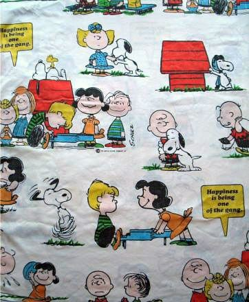 Vintage Peanuts Gang Fitted Sheet - Happiness Is...