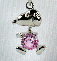 Snoopy Silver Plated Pendant With Pink Rhinestone