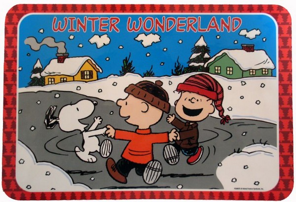 Peanuts Gang Vinyl Christmas Place Mat - Winter Wonderland
