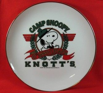 Knott's Camp Snoopy 10th Anniversary Gold Plated Plate