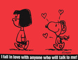 Peanuts Laminated Vintage Poster - Fall In Love