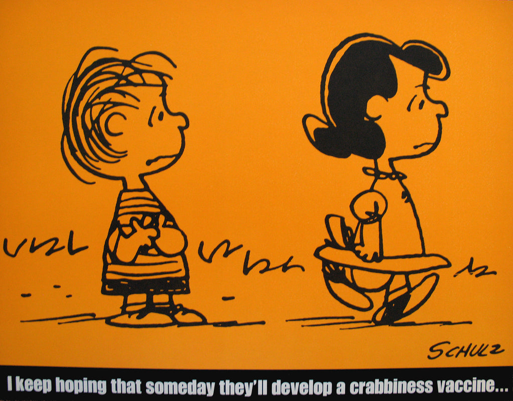 Peanuts Laminated Vintage Poster - Crabbiness Vaccine