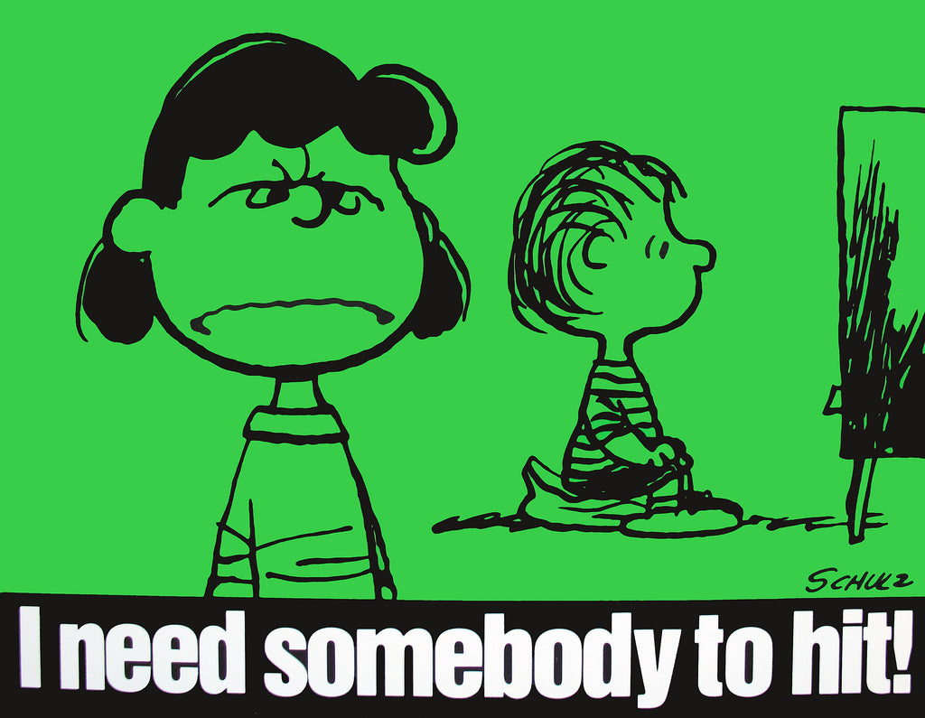 Peanuts Laminated Vintage Poster - Need Somebody To Hit