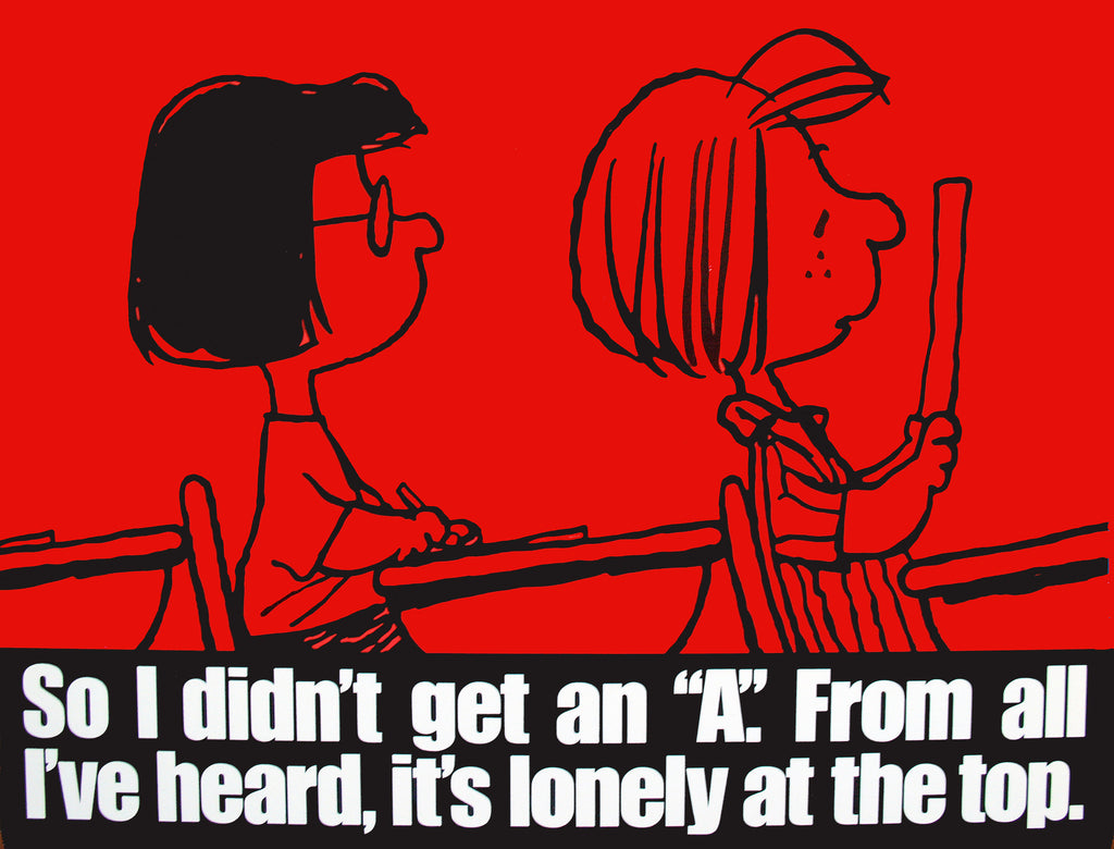 Peanuts Laminated Vintage Poster - Lonely At The Top