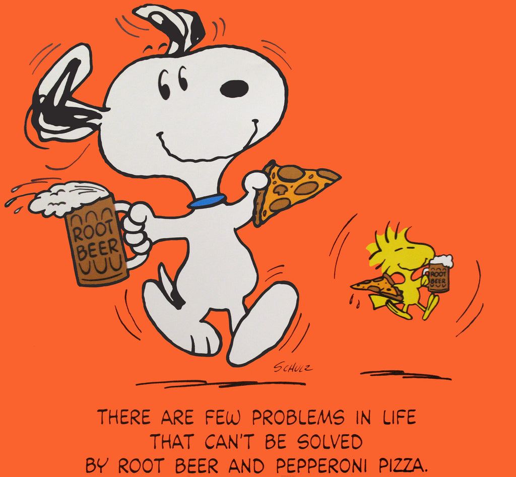 Peanuts Laminated Vintage Poster - Root Beer and Pizza