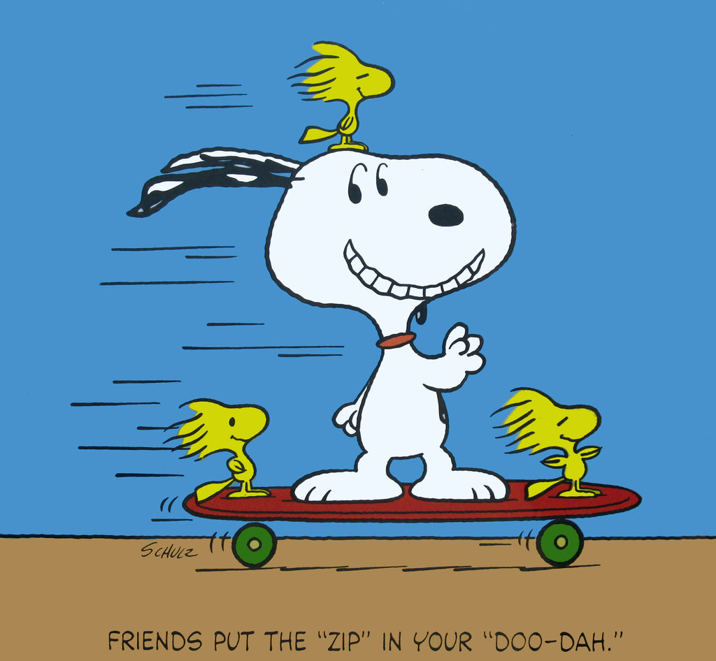 Peanuts Laminated Vintage Poster - Snoopy Skateboarder