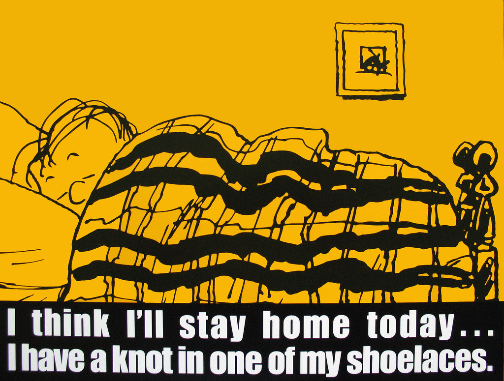 Peanuts Laminated Vintage Poster - Linus Stay Home