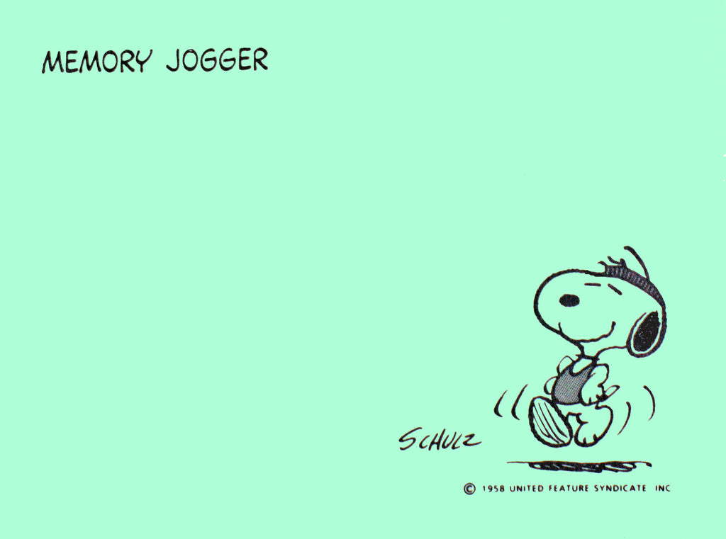 Snoopy Post-It Pad - Memory Jogger