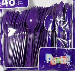 Colored Party Utensils - Knives, Spoons, and Forks - PURPLE