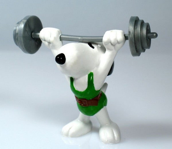 1984 OLYMPICS SNOOPY WEIGHT LIFTER PVC