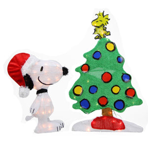 2-D Soft Lighted Tinsel Yard Art - 2-Piece Snoopy By Christmas Tree ON SALE!