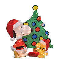 2-D Soft Lighted Tinsel Yard Art - 3-Piece Snoopy and Woodstock By Christmas Tree
