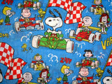 Vintage Peanuts Gang Racing Flat Sheet