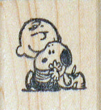 Charlie Brown Hugs Snoopy RUBBER STAMP (Used But MINT Condition)