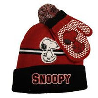 Snoopy Knit Hat and Mittens Set  - Red